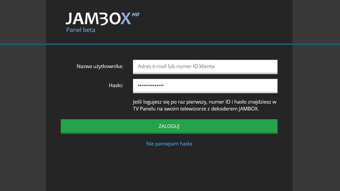 Jambox Panel TV - Logowanie