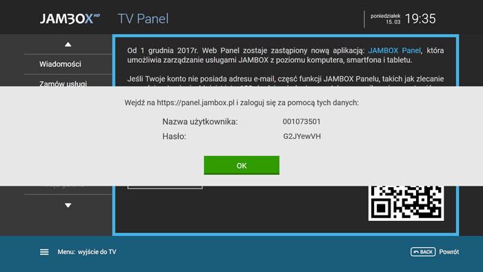 Jambox Panel TV - generuj hasło